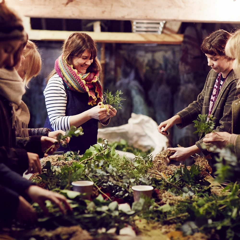 Christmas wreath workshop with Petal & Feast in the Wild Sussex Wood Yard